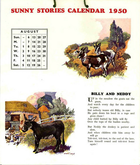 sunny stories calendar 1950 by enid blyton