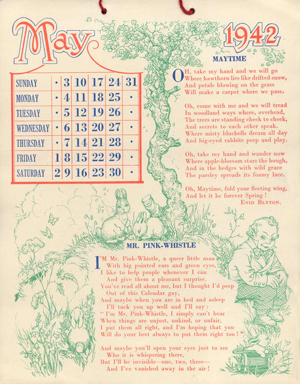 Sunny Stories Calendar For 1942 By Enid Blyton