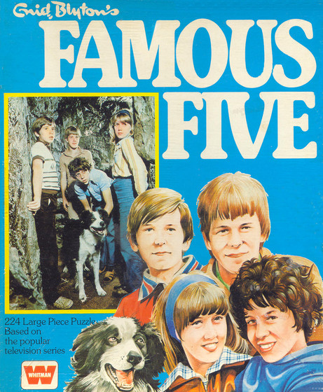 famous five The famous five are a series of 21 books written by enid blyton, and are mystery adventures the five are georgina (preferred name george) and her dog, timmy, with her three cousins, julian, dick and anne.