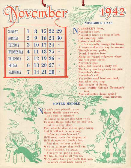 Sunny Stories Calendar For 1942 By Enid Blyton